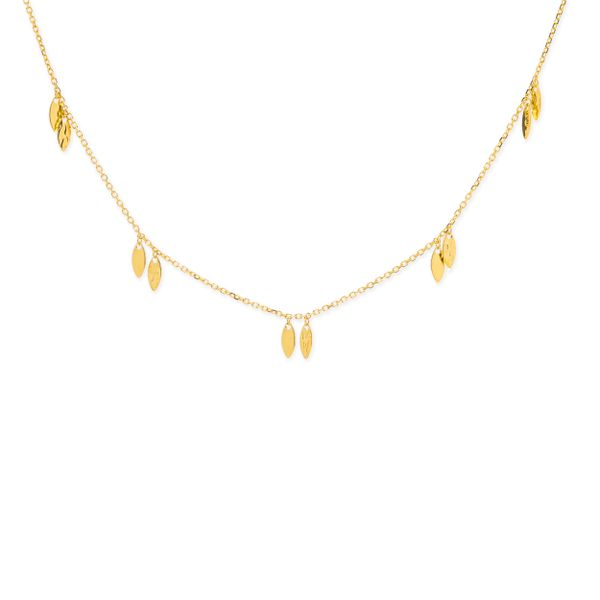 14-Karat Yellow Gold Leaf Station Necklace JWR Jewelers Athens, GA