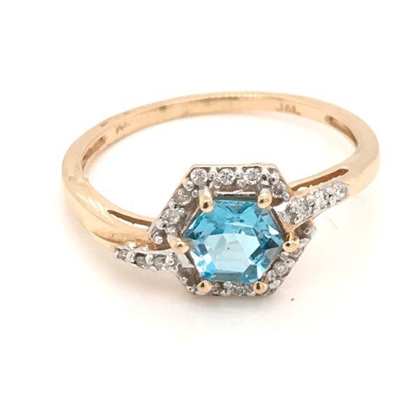 14K Yellow Gold Blue Topaz and Diamond Ring JWR Jewelers Athens, GA