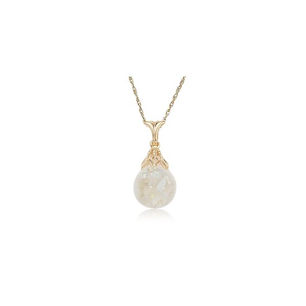 14-Karat Yellow Gold Floating Opal Pendant with Chain JWR Jewelers Athens, GA