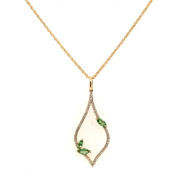 14K Yellow Gold Green Garnet and Diamond Necklace JWR Jewelers Athens, GA