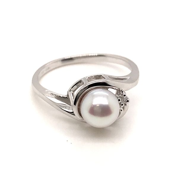 14K White Gold Pearl and Diamond Ring JWR Jewelers Athens, GA