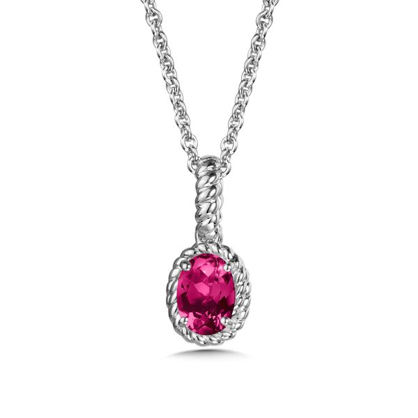 Sterling Silver Created Ruby Pendant with Chain JWR Jewelers Athens, GA