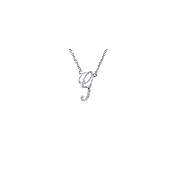 "Lafonn Sterling Silver with Bonded Platinum Initial Pendant ""G"" with 18"" Chain  JWR Jewelers Athens, GA"