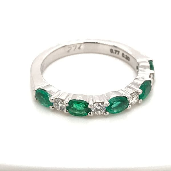 18K White Gold Emerald and Diamond Band JWR Jewelers Athens, GA
