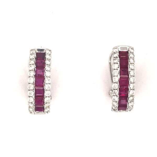 14K White Gold Ruby and Diamond Earrings JWR Jewelers Athens, GA