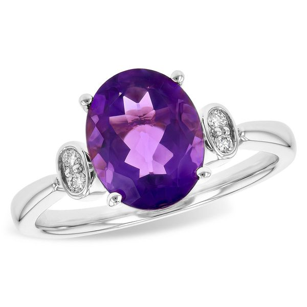 14-Karat White Gold Amethyst and Diamond Ring JWR Jewelers Athens, GA