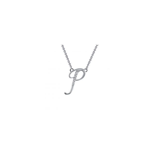 """Lafonn Sterling Silver with Bonded Platinum Initial Pendant """"P"""" with 18"""" Chain  JWR Jewelers Athens, GA"""