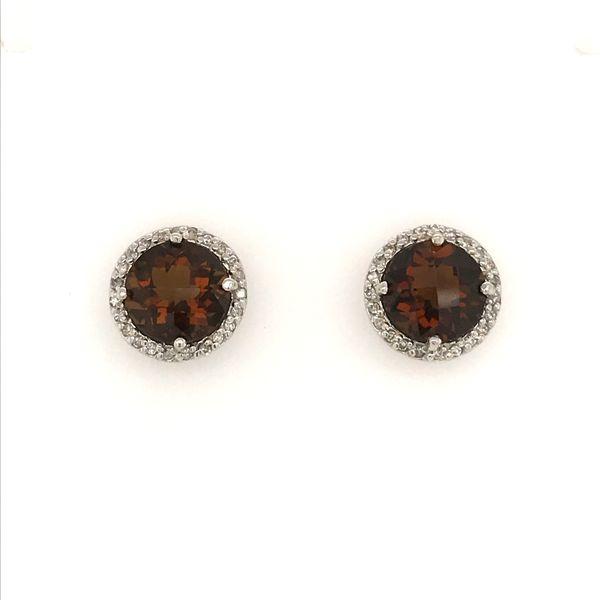 14K White Gold Smoky Quartz and Diamond Earrings JWR Jewelers Athens, GA