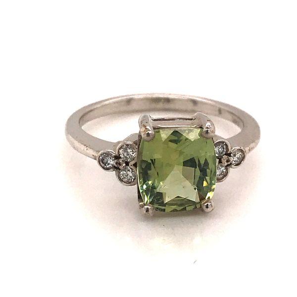 14K White Gold Chrysoberyl and Diamond Ring JWR Jewelers Athens, GA