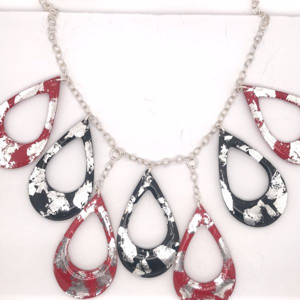 Evocateur Athena Necklace - Red and Black Silver JWR Jewelers Athens, GA