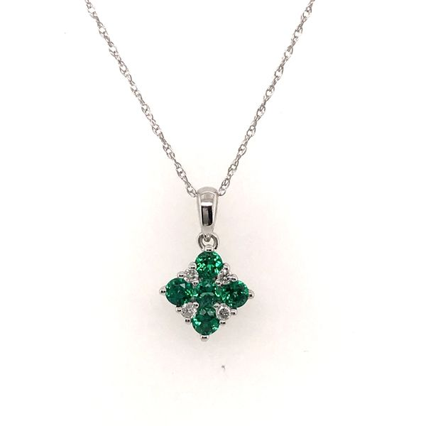 14K White Gold Emerald and Diamond Necklace JWR Jewelers Athens, GA