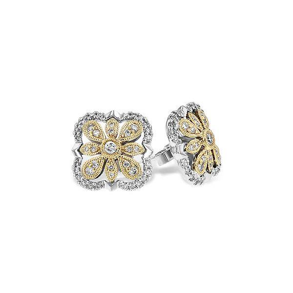 14K Two-Tone Diamond Earrings JWR Jewelers Athens, GA