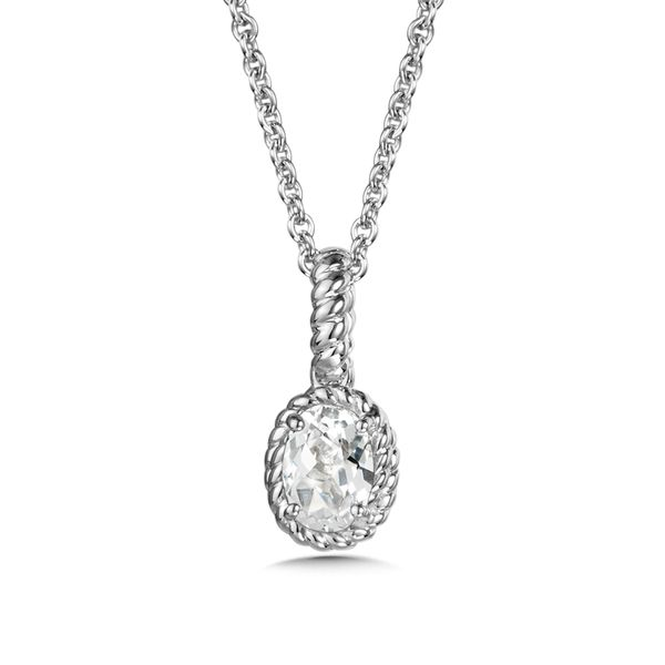 Sterling Silver Created White Sapphire Pendant with Chain Image 2 JWR Jewelers Athens, GA