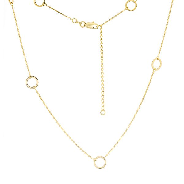 14-Karat Yellow Gold  Open Circle Station Necklace JWR Jewelers Athens, GA