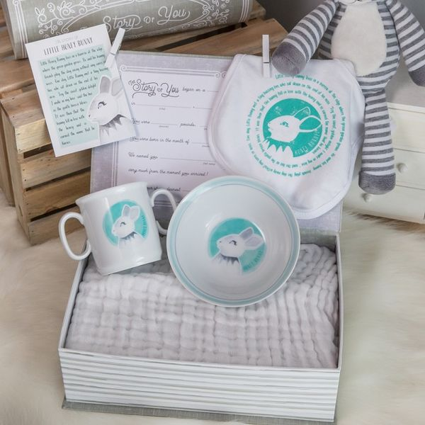 Honey Bunny Gift Set: cup, bowl, and bib JWR Jewelers Athens, GA