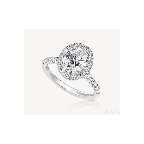 18K White Gold Diamond Halo Engagement Ring JWR Jewelers Athens, GA