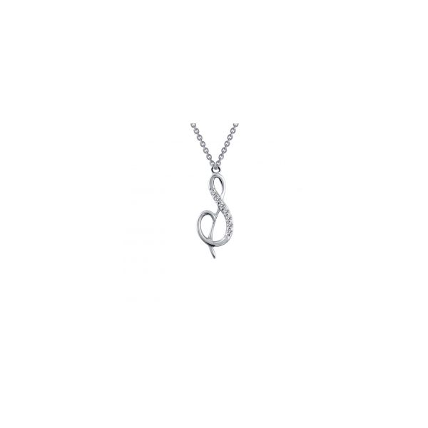 """Lafonn Sterling Silver with Bonded Platinum Initial Pendant """"S"""" with 18"""" Chain  JWR Jewelers Athens, GA"""