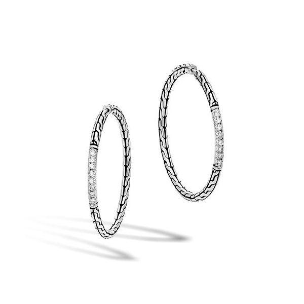 John Hardy Sterling Silver and Diamond Hoop Earrings Kiefer Jewelers Lutz, FL