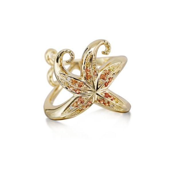14K Yellow Gold Sapphire/Diamond Starfish Ring Kiefer Jewelers Lutz, FL