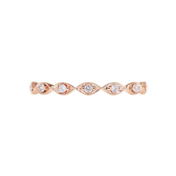 the eleanor vintage-inspired ring with unique marquise-shaped 14k rose gold setting and round diamonds with rose gold beading