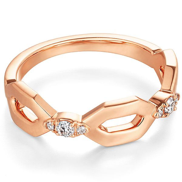 hearts on fire open regal band 18k rose gold diamond round trio with geometric pattern