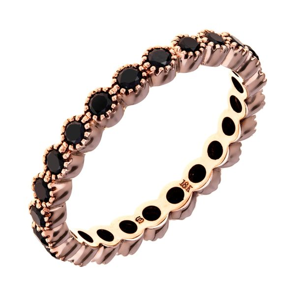 18k rose gold bezel set black diamond milgrain detail eternity stacker band sethi couture