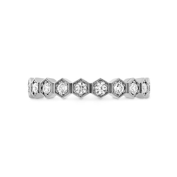 hearts on fire hex diamond eternity band with 18k white gold and diamond rounds in a honeycomb shape