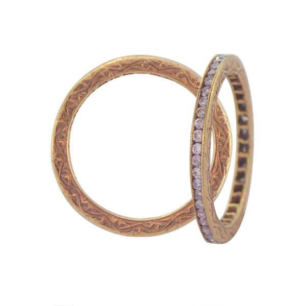 the channel natural pink diamonds with 14k rose gold intricate design on rim of the stacker band eternity ring sethi couture