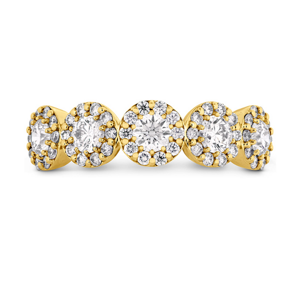 hearts on fire fulfillment round band set in 18k yellow gold with several diamond rounds and diamond halos