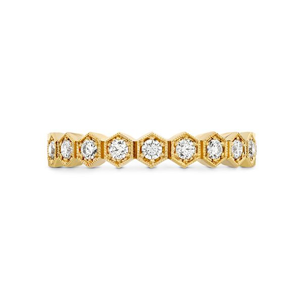 hearts on fire hex diamond eternity band with 18k yellow gold and diamond rounds in a honeycomb shape