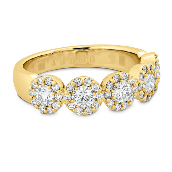 hearts on fire fulfillment round band set in 18k yellow gold with diamond rounds and a diamond halo