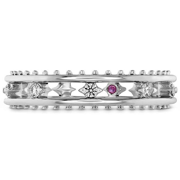 hearts on fire sloane picot floating diamond band with a pink sapphire 18k white gold beaded white gold diamond rounds