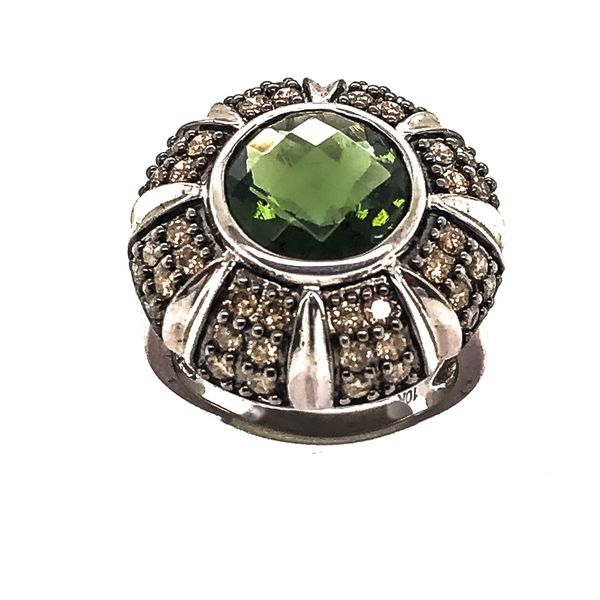 Green Tourmaline & Chocolate Diamond Ring Malak Jewelers Charlotte, NC
