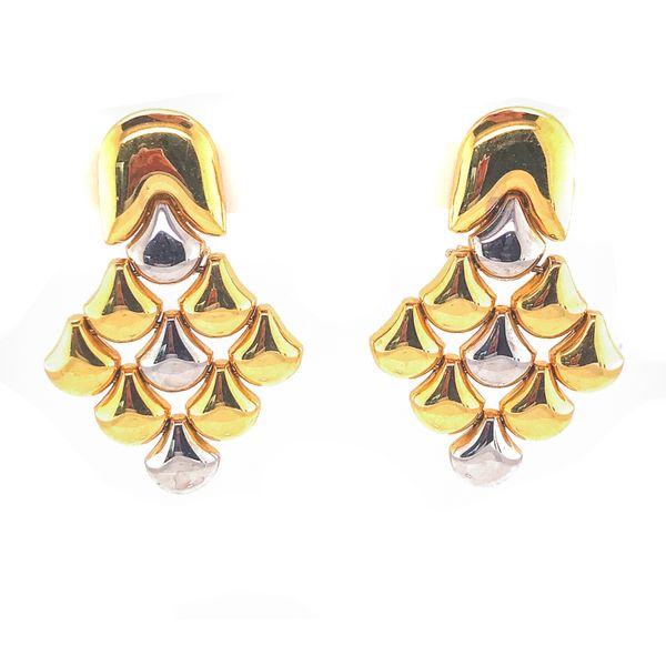 """Peregrine Emblem"" 18k Yellow & White Gold Drop Earrings Malak Jewelers Charlotte, NC"