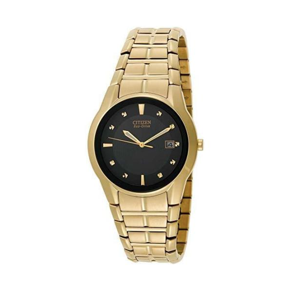 Citizen Eco-Drive Gold Men's Black Dial Dress Watch. Malak Jewelers Charlotte, NC