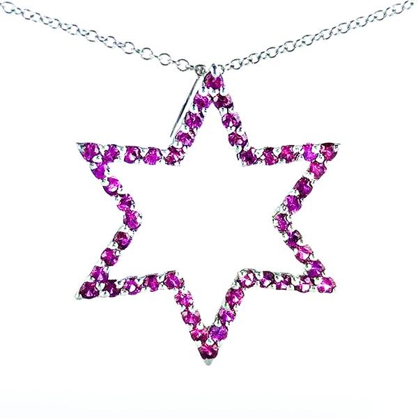 14k White Gold Ruby Star of David Pendant Malak Jewelers Charlotte, NC