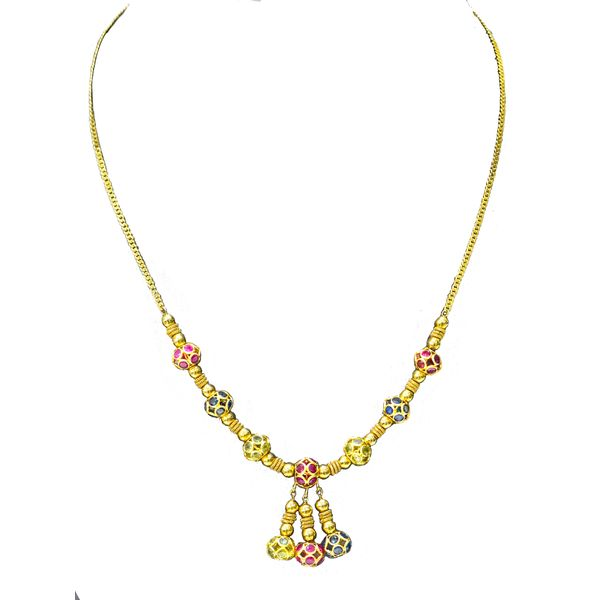 18k Yellow Gold Multi-Gem Necklace Malak Jewelers Charlotte, NC