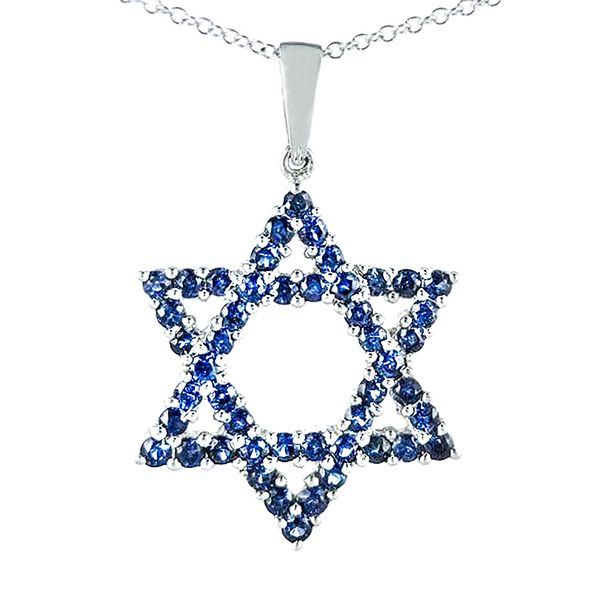 14k White Gold Sapphire Star of David Necklace Malak Jewelers Charlotte, NC