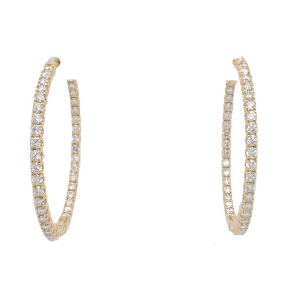 14k Yellow Gold Diamond Hoops Malak Jewelers Charlotte, NC