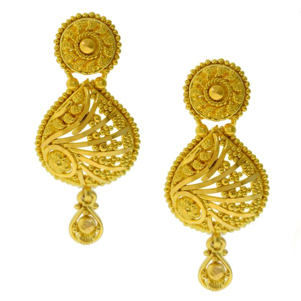 22k Yellow Gold Dangle Earrings Malak Jewelers Charlotte, NC