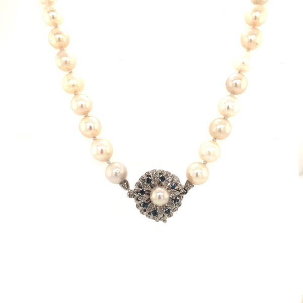 """Absolute Tides"" 18k White Gold Sapphire and Pearl Necklace Malak Jewelers Charlotte, NC"