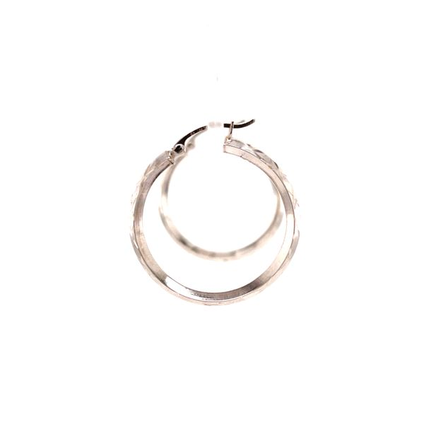 White Gold Medium Hoop Earrings Image 2 Martin Busch Inc. New York, NY