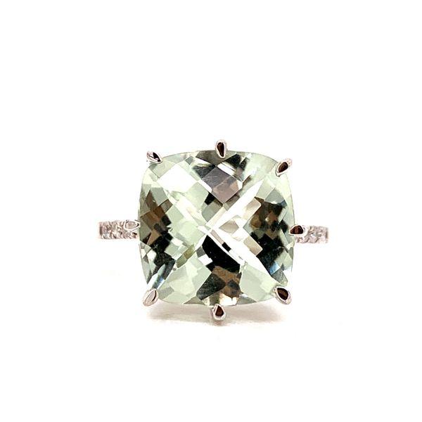 Silver Cushion Cut Quartz Ring with Diamonds Martin Busch Inc. New York, NY