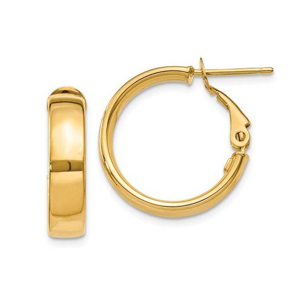 Gold Omega Back Hoop Earrings Martin Busch Inc. New York, NY