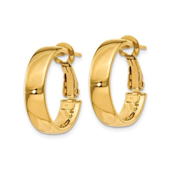 Gold Omega Back Hoop Earrings Image 2 Martin Busch Inc. New York, NY