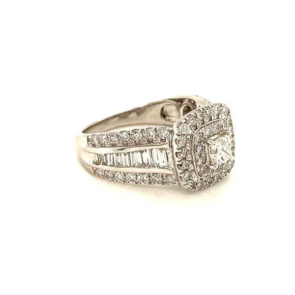Double Halo Wide Band Engagement Ring Image 2 Martin Busch Inc. New York, NY