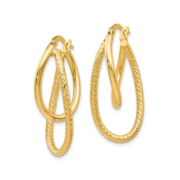 14K Gold Textured Double Hoop Earring Image 2 Martin Busch Inc. New York, NY
