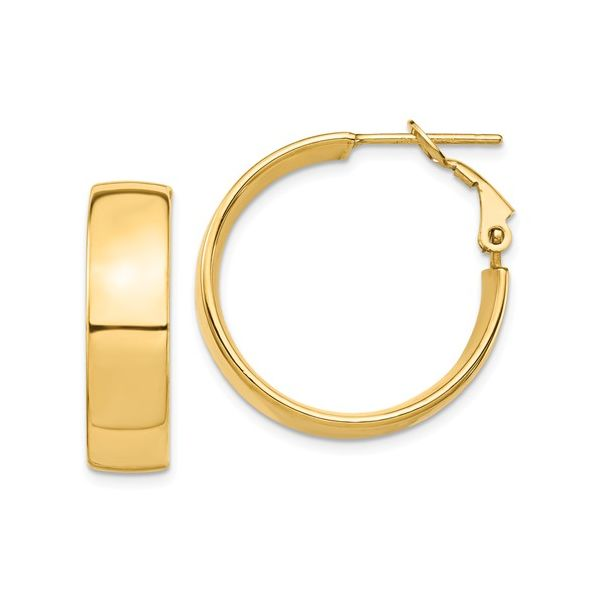 Wide Gold Hoop with Omega Back Martin Busch Inc. New York, NY