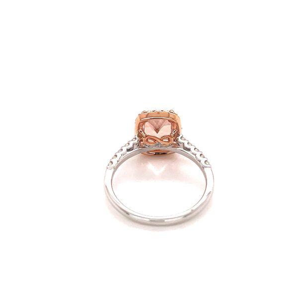 18K Morganite and Diamonds Halo Ring Image 3 Martin Busch Inc. New York, NY