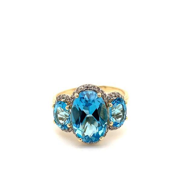 Three Stones Blue Topaz Ring